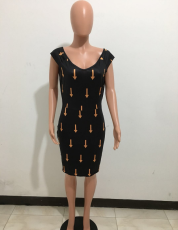 Arrow Printed Bodycon Midi Dress OM-1246