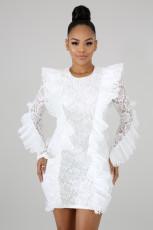 Ruffles Long Sleeve Lace Bodycon Dress OSM-4054