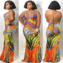 2019 Sexy Backless Printed Long Dress YH-5040