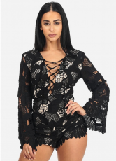 Black Crochet Bell Sleeve Lace Up Neck Romper LX-8699