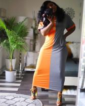 Plus Size Color Block Short Sleeve Maxi Dresses YH-5044