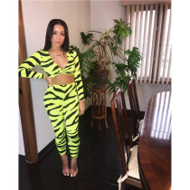 Zebra Stripes V Neck Long Sleeve Two Piece Pants Suit TEN-3312