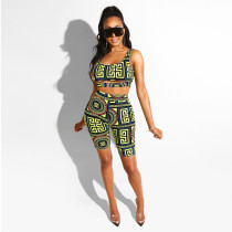 Sexy Printed Tank Top And Shorts Two Piece Sets BN-9183