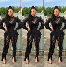 Sexy Lace Ruffles Long Sleeve Slim Jumpsuit YD-8042