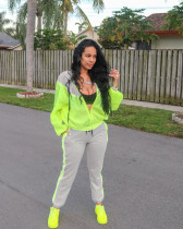 Casual Patchwork Hooded Tracksuit Two Piece Set YH-5090