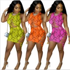 Snake Skin Print Sleeveless Lace Up Mini Bandage Dresses YN-9093