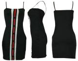 Black Spaghetti Strap Button Mini Dress HM-6009