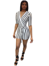 Blue Striped V-Neck Belt Romper MAE-116