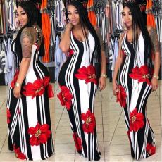 Floral Printing Sleeveless Long Dress TR-782
