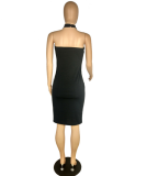 Letter Print Black Bandage Dress PIN-630