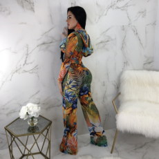 Floral Print Hooded Crop Tops Flare Pant Set YIS-621