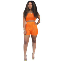 Solid Knitting Strapless Sweater Set Two Piece Shorts Suit MOS-928