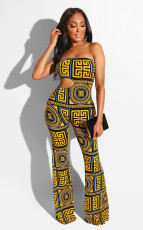 Retro Print Strapless Bodycon Backless Long Jumpsuit YD-8102