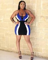 Sexy Patchwork Halter Mini Dresses MYP-8841