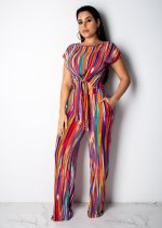 Colorful Stripe Short Sleeve Two Piece Suit YS-8326