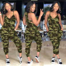 Plus Size Camouflage Print Spaghetti Strap Jumpsuit MA-161