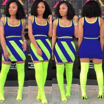 Plus Size Color Block Pactchwork Mini Skirt Set HGL-1115