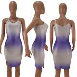 Sexy Gradient Spaghetti Strap Bodycon Dresses HM-6120