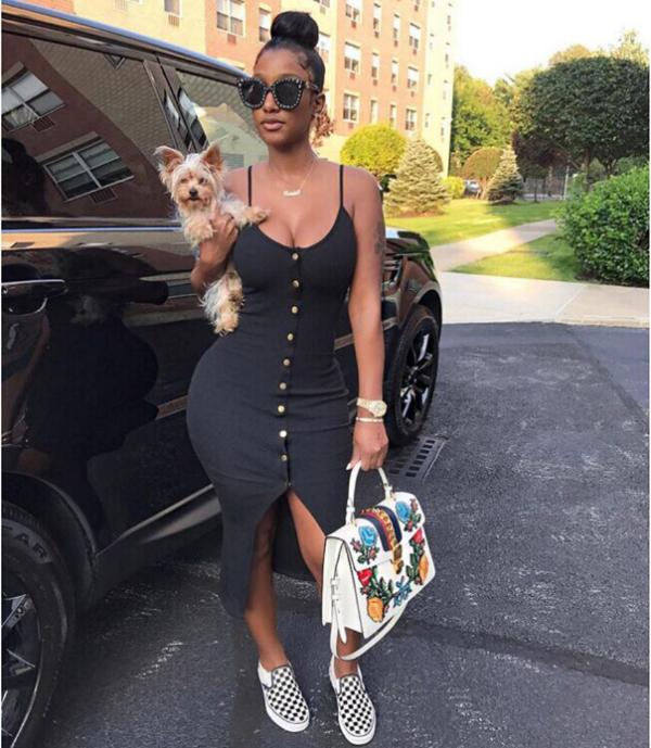 Black Straps Package Hips Club Dress Plus Size OD-8037