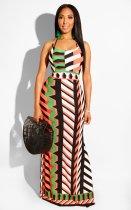 Geometric Print Spaghetti Strap Backless Side Split Long Dress OD-8261
