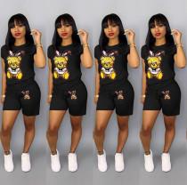 Plus Size Cartoon Print Shorts 2 Piece Set QY-5090