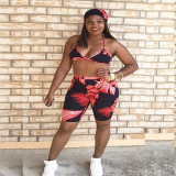 Sexy Printed Halter Bra Top And Shorts Two Piece Suit KSN-5013