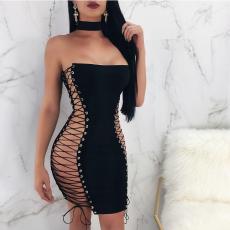 Side Lace-up Strapless Bandage Black Dress LSL-6088