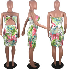 Sexy Strapless Cut Out Wrap Floral Print Dresses KSN-5007