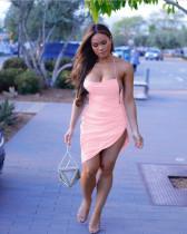 Pink Straps Backless Irregular Sexy Club Dress CH-8035