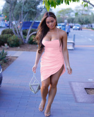 Pink Straps Backless Irregular Sexy Club Dress CH-8035