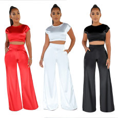 Sexy Satin Crop Top Wide Leg Pants Two Piece Suits YF-9510