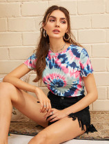 Tie Dye Print Short Sleeve Round Neck T Shirts BS-1069