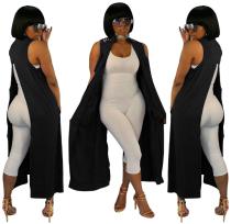 Black Sleeveless Back Split Long Waistcoat LSL-6169