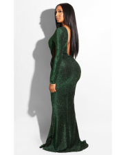 Green Backless Hollow Out Long Evening Dresses LS-0227