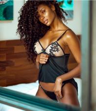 Black Sling Nightgown Sexy Lingerie Set YQ-117