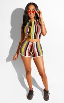 Casual Striped Hooded Sleeveless Two Piece Shorts Set NK-8413