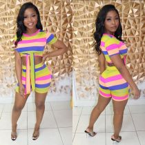 Colorful Striped Short Sleeve Strappy Two Piece Shorts Set TEN-3365