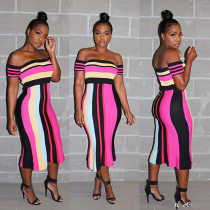 Sexy Striped Slash Neck Slim Midi Sress IV-8010