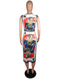 Printed O Neck Sleeveless Midi Dresses MK-2018