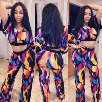 Printed V Neck Crop Tops And Pants Two Piece Sets MOY-5083