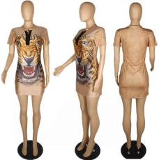 Tiger Print Lace Up T Shirt Dress PIN-D703