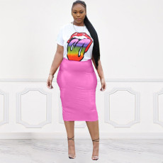 Lips Print T Shirt And PU Leather Skirt 2 Piece Sets KSN-5055