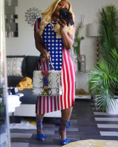 Flag Print Short Sleeve Long Maxi Dresses CH-8029