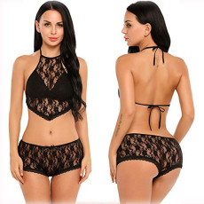 Sexy Lace See Through Halter Lingerie Bra Sets YQ-379