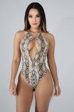 Snake Print Halter Backless Cut Out Bodysuit OSM-3265