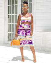 Tie Dye Print Sling Crop Tops Midi Skirt 2 Piece Set FNN-8241