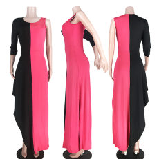 Contrast Color Sexy Irregular Long Dresses ASL-6199