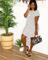 Casual Striped Short Sleeve Side Split Long Maxi Dresses LQ-5071