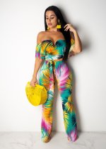 Sexy Printed Slash Neck Off Shoulder Long Jumpsuits NK-8420