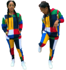 Color Block Spliced Hoodies And Pant Set MAE-152